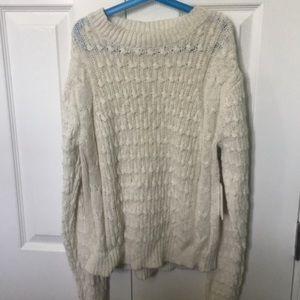 NWT-Something Navy cream women's sweater